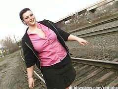 Porky princess gets nude on railway