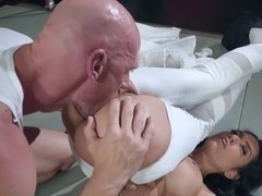 After interrupting his training, the brunette is punished by his cock