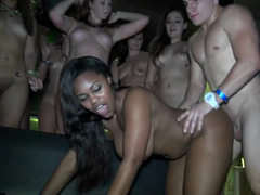 Naughty party girls fucked by big dicks at the night club