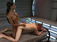 ebony tranny has her way with a guy in a bondage clip
