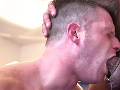 tattooed hunk cocksucked after wrestling