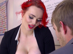 Bright red haired kitten Jasmine James fucks a huge dick