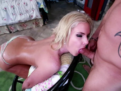 Blonde gets filmed as cum is smeared all over her large ass.