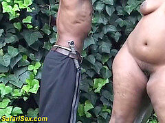 plus-size african outdoor sadism & masochism lesson