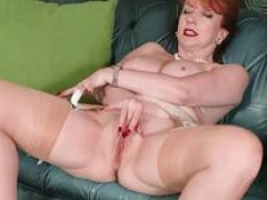 Redhead Sexually available mom masturbates in high end retro chic lingerie seamed nylons and designer heels