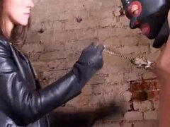 Leather masked sub jerking his cock while being nipple tortured & dominated