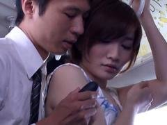Japanese kitten gets her massive titties fondled in a BUS