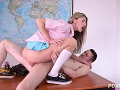 Petite defiant schoolgirl Gina rides tutor's big cock on the classroom desk GP1143