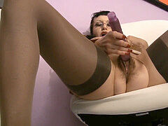 big-titted hairy secretary MILF messy talk jerkoff directives