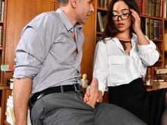 The sexy librarian Ginebra Bellucci is one naughty babe. She is tending to her daily duties when two hot men enter the library around closing time
