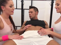 Twins Eveline & Silvia Dellai fucked by turns during their fitness training