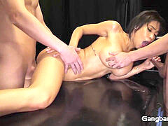 lean hottie GETS penetrated BY 5 GUYS AND SHE EATS THEIR CUM