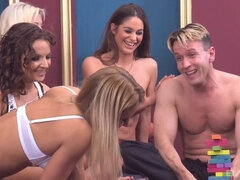 Cathy Heaven and Nikky Thorne get wild in this all out sex orgy