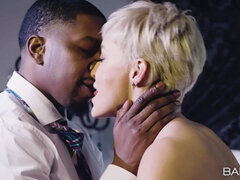 Raunchy Buxom MILF Kisses Her Younger Black Lover!