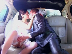 Just married couple fucking in the limo