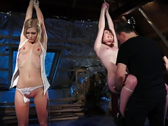 BDSM Punishing a pair of babes in the same time using leather whip