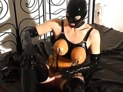 Rubber slut - pissing and fucking - part 2-6