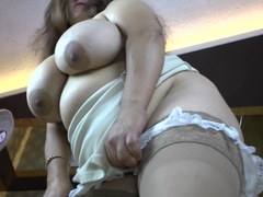 Latin big breasted mom fingering herself