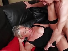 Sexy old blonde lets young stud fuck her right