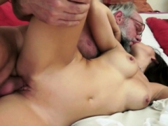 Orally pleased 18-19 year old drilled by lucky oldman