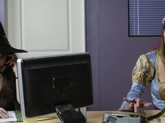 Rachel RoXXX & a big dick mummy have a Halloween fuck story in the office