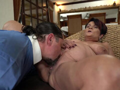 Busty mature Dolly Bee strip poker with new neighbor