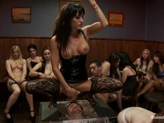Mistresses had a Party Drenched Slave Face in Squirt