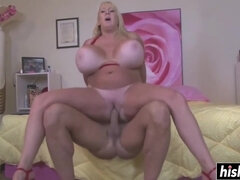 Blonde likes to ride a cock while her huge tits bounce