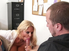 Busty boss Karen Fisher makes useless employee fuck her over his desk
