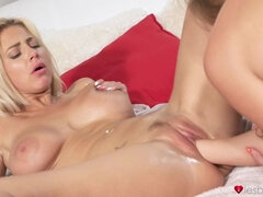 Lesbian fisting for horny blonde