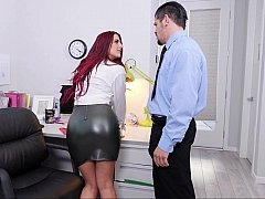 Redhead gets her twat licked at the office