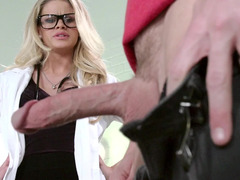 A blonde with glasses is getting fucked hard by her patient