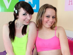The handjob lesson with a pigtailed brunette Dakota Charms