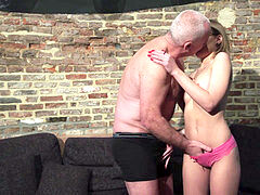 older and youthful porn - Grandpa Fucks Teen Pussy fingers her twat and cumshot