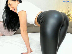 cougar close up boot in spandex stretch pants on webcam.
