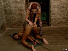Hot lezdom whips ass to ebony slut