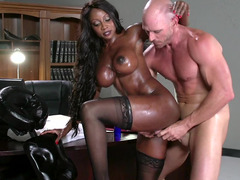 Amazing ebony darling gets rammed so hard by a white stallion