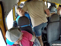 Married chesty mummy gangbanged in Bus