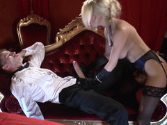 Huge cock hardcore at the opera with a lady in lingerie