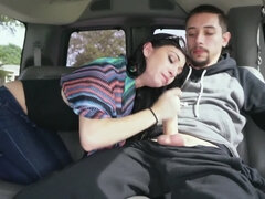 Dark-haired chick needs money so she blows cock in bang bus