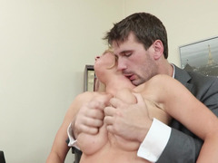 Short haired office girl gets nailed by an European porn stud