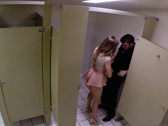 Slut in a miniskirt has a vigorous quickie in a public bathroom