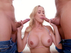 Hot Blonde Gets Her Milf Pussy Used By Two Cocks