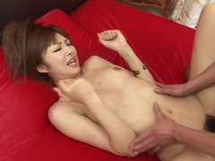Two guys are penetrating this horny little bitch that is filled with lust