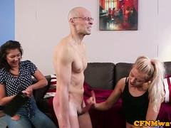 CFNM femdoms tugging and also paddling sub in trio
