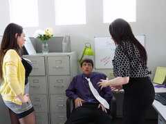 Ariella Ferrera and Dana Dearmond steamy office threesome