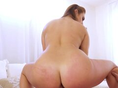 Bedroom sex of stepdad and the bitch with juicy tits and booty