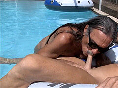 Jamie Blows Jenny Transvestite pecker mega-slut in the Pool #2