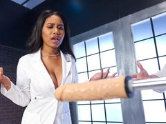 Sexy busty ebony Jenna Foxx pounds with a horny young doctor